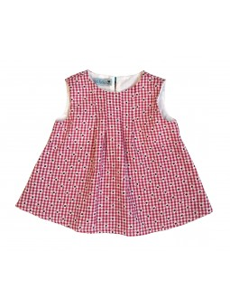 Red gingham pattern dress