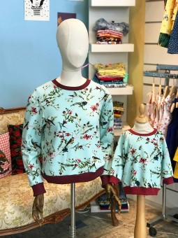 Bird pattern lady sweat-shirt